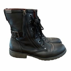 Roxy Surf Combat Boots Lace Up Military Black 10